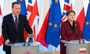 David Cameron with Poland's president, Beata Szydło