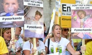 Campaigners stage a protest outside Downing Street to make Orkambi available on the NHS.