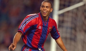 Ronaldo during his single season at Barcelona, when he scored 47 goals in 49 games and won the European Golden Shoe and La Liga top scorer awards.