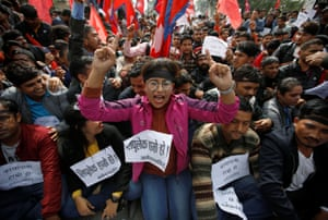 Kathmandu, Nepal Students protest against a new map of India near the Indian Embassy