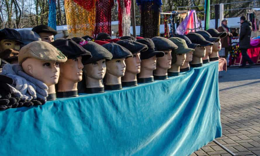 Hat stall at the Turkish market in Berlin