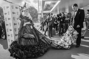 Daisy May Cooper on the red carpet in a dress made from bin bags and old cereal packets
