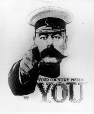 Where it all began … a British first world war army recruitment poster featuring Lord Kitchener.