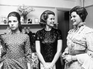 Royalty visits the dressing room at a performance of Captain Brassbound's Conversion in London in the 1970s. From left to right: a youthful Princess Caroline of Monaco, Princess Grace of Monaco (aka Grace Kelly) and Ingrid Bergman.