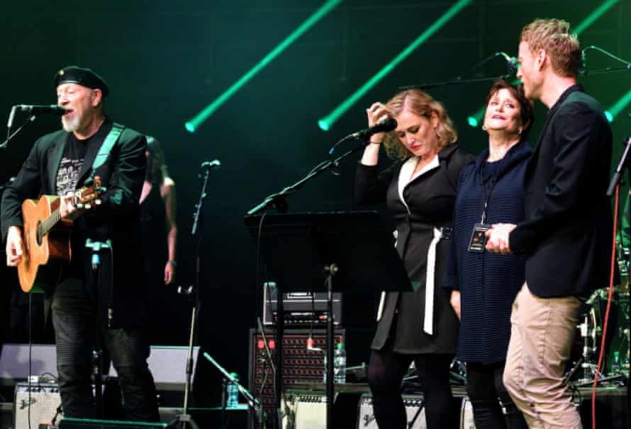 Thompson is joined by his daughter Kami, son Teddy and ex-wife Linda at his 70th birthday show at London's Royal Albert Hall, 2019.