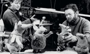 Oliver Postgate and Peter Firmin filming The Clangers, 1968.