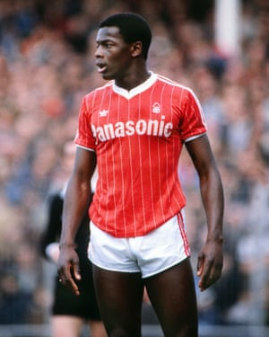 Justin Fashanu playing for Nottingham Forest, 1982.