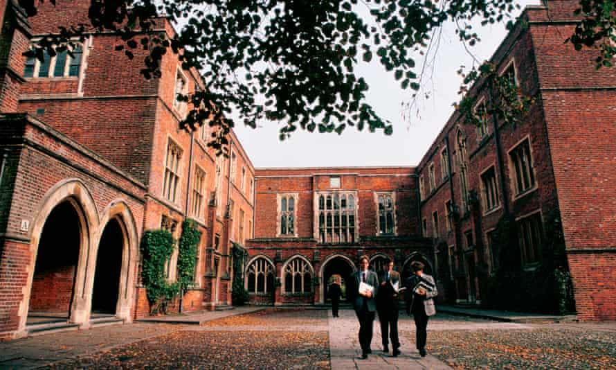 Pupils in the courtyard at Winchester College, England.