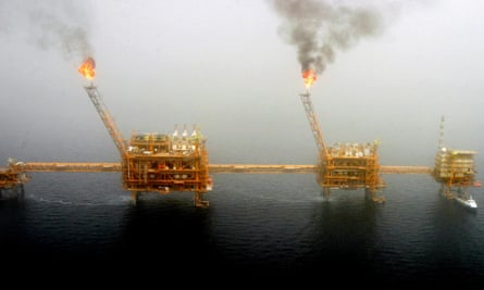 Gas flares from an oil production platform