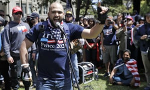 Rightwing group Patriot Prayer leader Joey Gibson speaks during a rally in support of free speech in Berkeley, California, in April 2017.