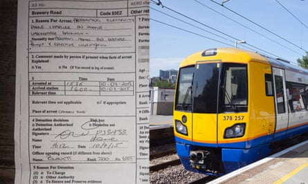 Robin Lee's arrest sheet and an Overground train of the type that he was arrested on.