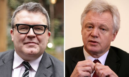 Tom Watson, Labour's deputy leader, and David Davis, the new Brexit minister