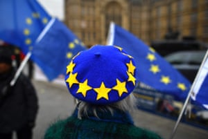 London, England An anti-Brexit demonstrator wears an EU flag-themed beret while protesting outside the Houses of Parliament.