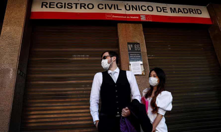 Wedding ceremonies are being held behind closed doors in Madrid