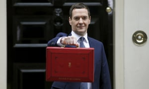Chancellor George Osborne displays his budget case in Downing Street.