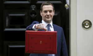 George Osborne holding up his budget case as he stands outside 11 Downing Street in 2015