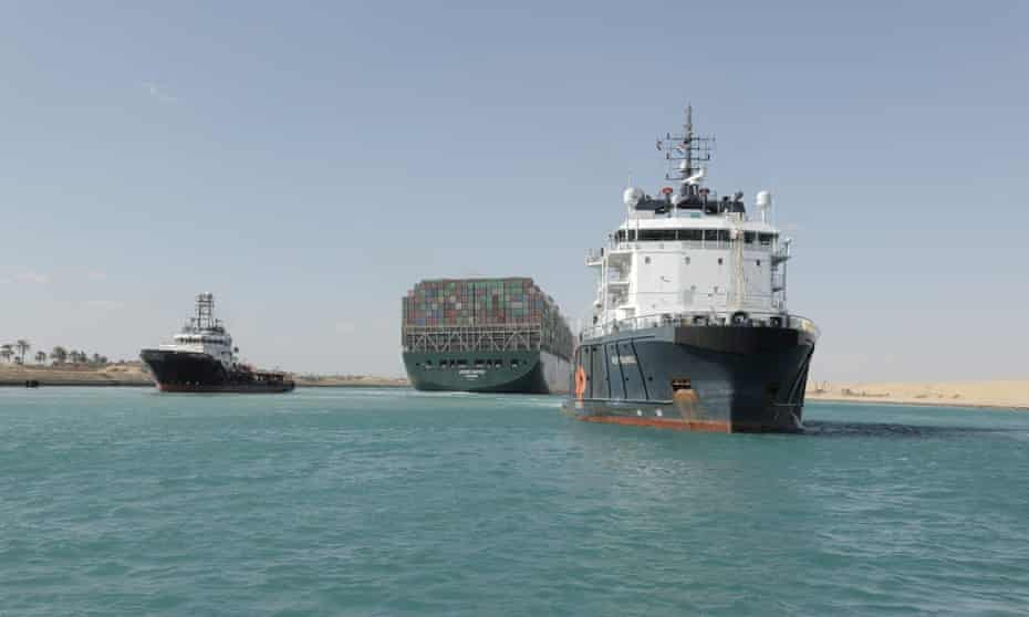The Ever Given  after it was fully refloated in the Suez canal on Monday