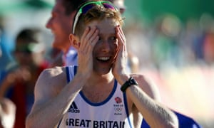 Tom Bosworth, who came 6th in the 20km walking race, asked his boyfriend Harry Dineley to marry him on Copacabana Beach.