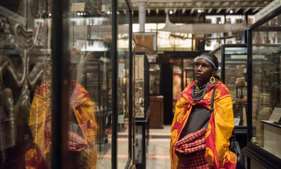 Decolonisation … a Maasai tribesperson visits Oxford University's Pitt Rivers Museum.