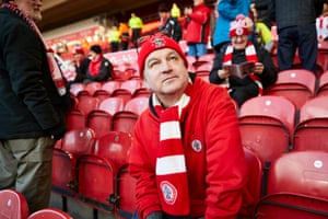 Accrington Stanley fan Andy Richards looking around the stadium before kick-off.