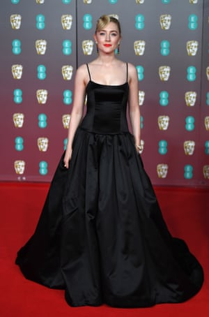 Saoirse Ronan in a Gucci dress upcycled from discarded satin.