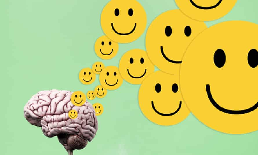Montage of brain and yellow smiley faces against green background