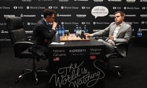 Fabiano Caruana and Magnus Carlsen at the World Chess Championship 2018 in London, November 2018