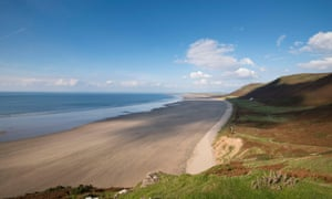 Rhossili Bay beach on the Gower peninsula, Swansea.