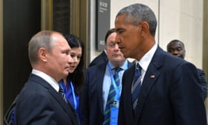 Vladimir Putin and Barack Obama meet on the sidelines of the G20 summit, where the US president reportedly told his Russian counterpart he 'better stop or else'.