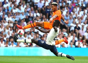 Joelinton of Newcastle United is challenged by Davinson Sanchez of Tottenham. Joelinton scored the only goal of the game to seal the points at the Tottenham Hotspur Stadium.