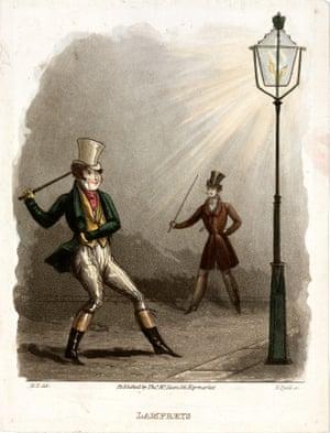 Gaslight allows high-jinks, circa 1820.
