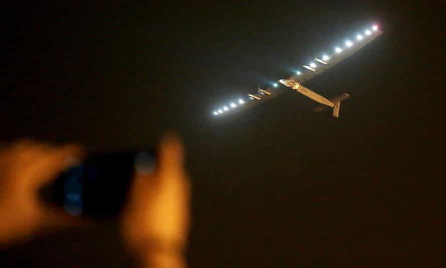 Solar Impulse 2 takes off from Nanjing Airport, China.