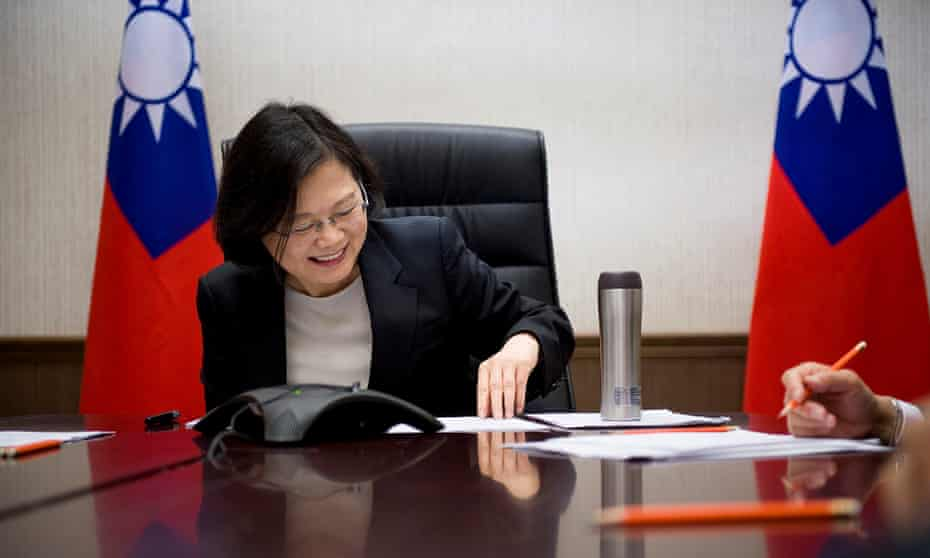 Taiwan's president Tsai Ing-wen speaks on the phone to US president-elect Donald Trump on 3 December.