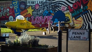 A yellow submarine and murals decorate the Penny Lane community centre in Liverpool
