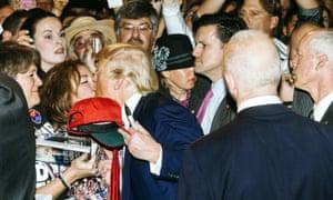 Donald Trump kisses a supporter in Las Vegas