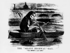 1858: A satirical cartoon from Punch magazine shows a skeleton rowing along the Thames.