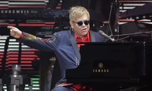 Sir Elton John on stage in Texas, October 2015.