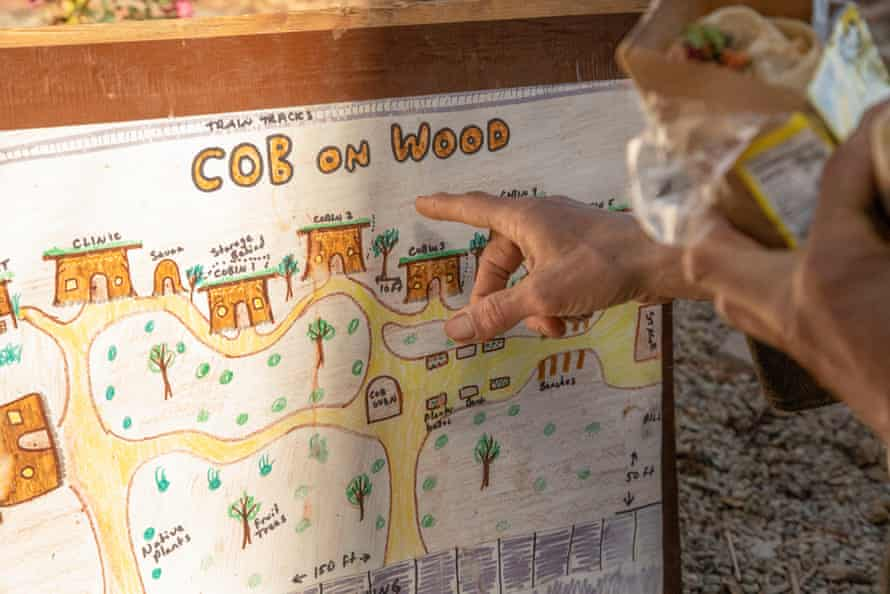 Miguel 'Migz' Elliott outlines plans to expand Cob on Wood, which includes a new sauna, fruit trees and 'cobins' that can house community members.