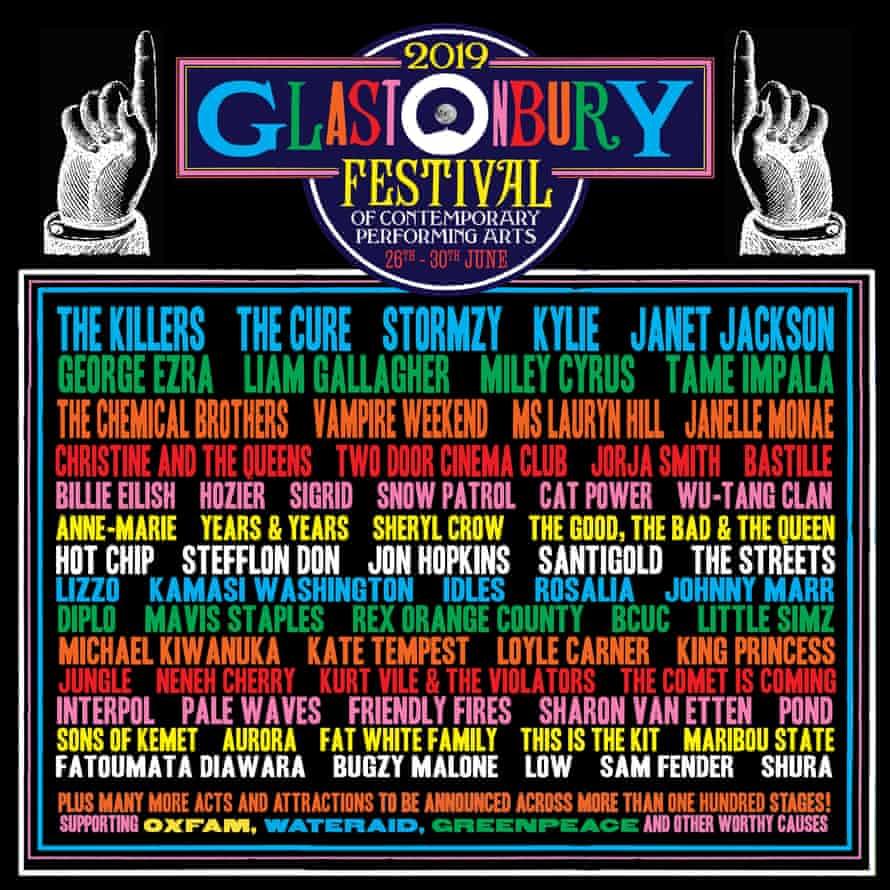 The poster for Glastonbury 2019 so far...
