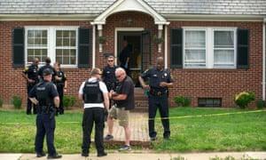 Police investigate the scene of a homicide in Fredericksburg, Virginia, in April 2015.