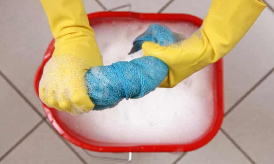 A person doing the cleaning