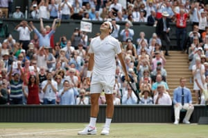 Roger Federer celebrates on matchpoint winning the mens singles final o