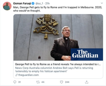 Screengrab of Osman Faruqi tweet of Guardian story about Cardinal George Pell flying to Rome