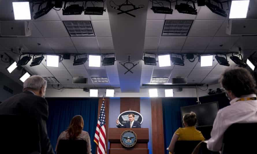 The Pentagon spokesman John Kirby speaks during a briefing on Thursday in Washington.