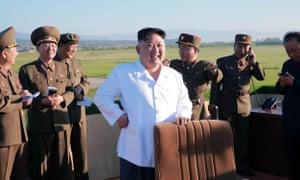 Kim Jong-un with North Korean generals