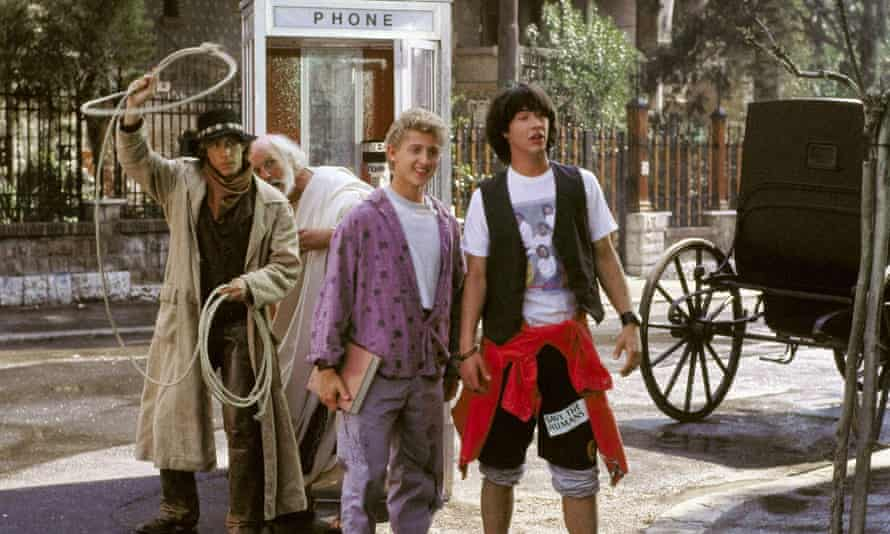 A phone box, Alex Winter and Keanu Reeves in Bill And Ted's Excellent Adventure, 1989.