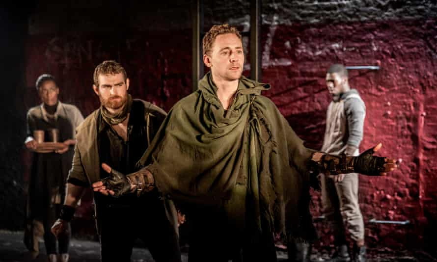 Tom Hiddleston, centre, as Coriolanus at Donmar, London, in 2013.