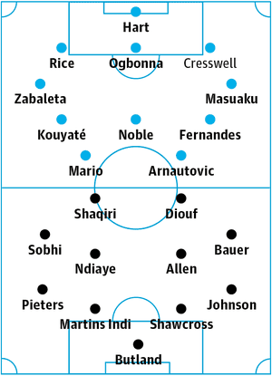 West Ham v Stoke City: probable starters in bold, contenders in light.