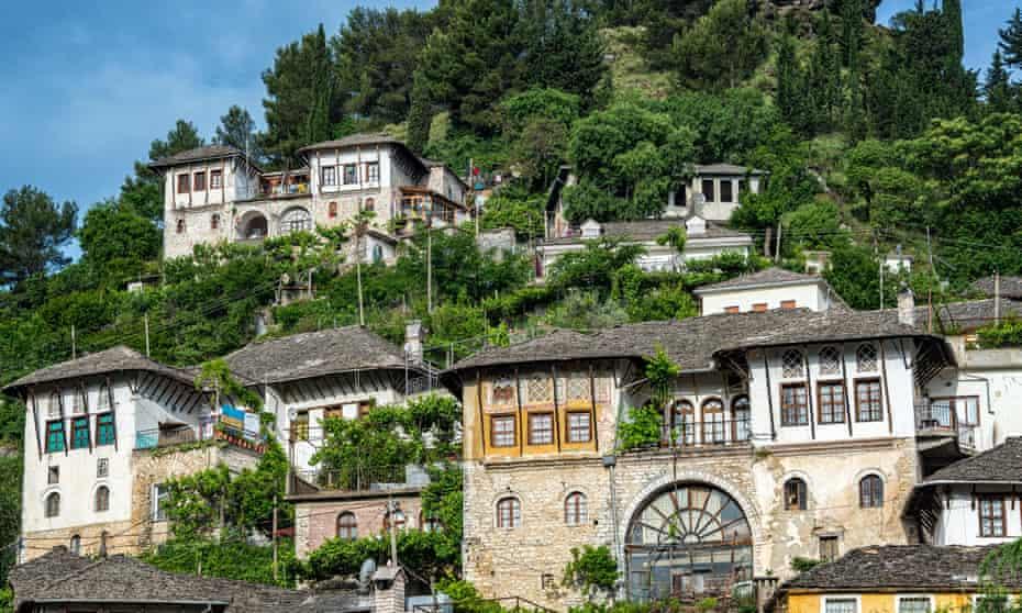 Historic Ottoman houses on a hillside in Gjirokaster, Albania