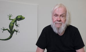 Funny and intriguing … Baldessari and his gecko.